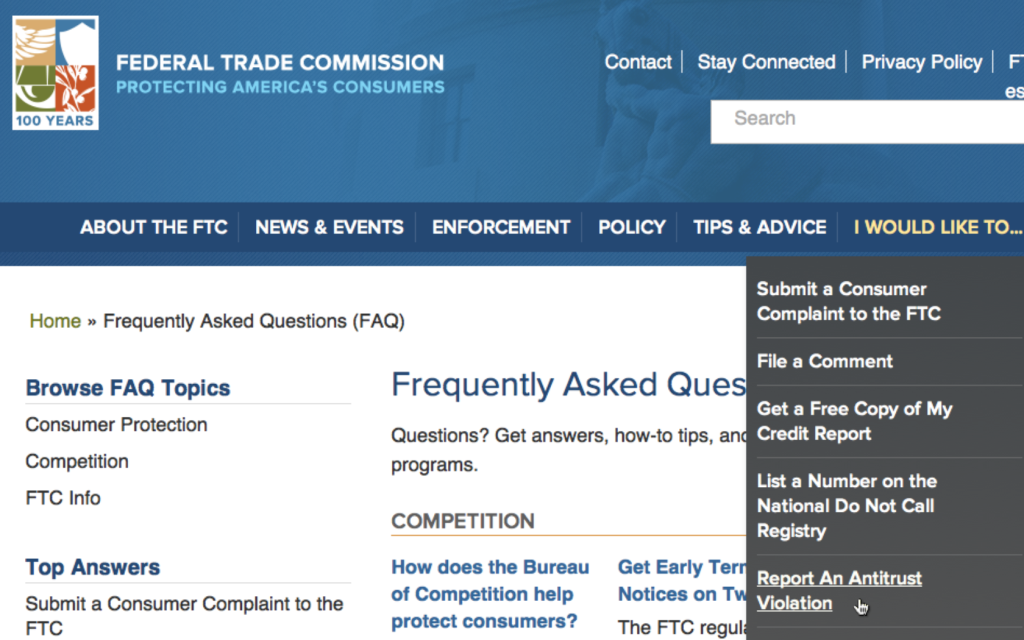 FEDERAL TRADE COMISSION ANTITRUST YES Screen shot 2014-07-05 at 14.52.10