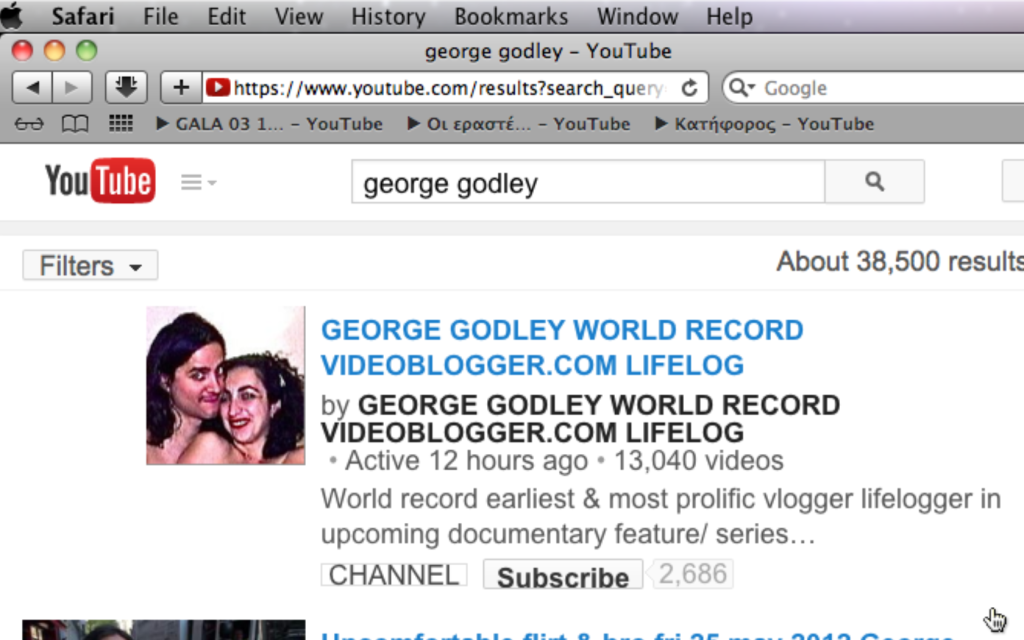 GEORGE GODLEY WORLD RECORD VIDEOBLOGGER.COM LIFELOG 13,040 videos YES Screen shot 2014-07-05 at 11.12.57