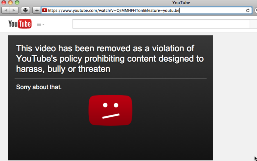 This video has been removed as a violation of YouTube's policy prohibiting content designed to harass, bully or threaten gosh comics Screen shot 2015-02-08 at 20.34.19
